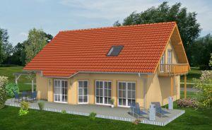 Bild: EFH-140-SD Bauweise: Fertighaus, industrielle Vorfertigung Bauart: Holzhaus, Holztafelbau