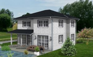 Bild: EFH-524-WD Bauweise: Fertighaus, industrielle Vorfertigung Bauart: Holzhaus, Holztafelbau