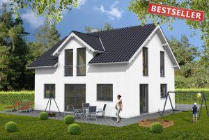 Bild: Quergiebelhaus Bauweise: Fertighaus, industrielle Vorfertigung Bauart: Holzhaus, Holztafelbau