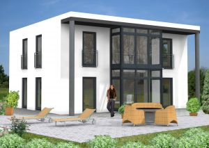 Bild: Bauhaus Alpenrod 10-017  Bauweise: Fertighaus, industrielle Vorfertigung Bauart: Massivhaus, Ziegelsteine