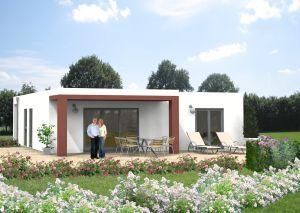 Bild: Bungalow Isselbach 20-014 Bauweise: Fertighaus, industrielle Vorfertigung Bauart: Massivhaus, Ziegelsteine