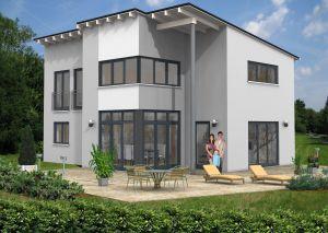 Bild: Pultdach Haus Nistertal 30-016 Bauweise: Fertighaus, industrielle Vorfertigung Bauart: Massivhaus, Ziegelsteine