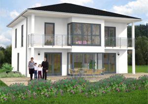 Bild: Stadtvilla Remagen 50-012 Bauweise: Fertighaus, industrielle Vorfertigung Bauart: Massivhaus, Ziegelsteine