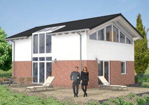 Bild: Satteldach Haus Marienfels 60-037 Bauweise: Fertighaus, industrielle Vorfertigung Bauart: Massivhaus, Ziegelsteine