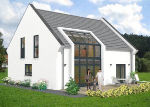 Bild: Satteldach Haus Fehl-Ritzhausen 80-029 Bauweise: Fertighaus, industrielle Vorfertigung Bauart: Massivhaus, Ziegelsteine
