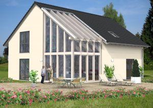 Bild: Satteldach Haus Hilgert 80-042 Bauweise: Fertighaus, industrielle Vorfertigung Bauart: Massivhaus, Ziegelsteine