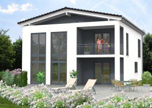 Bild: Satteldach Haus Ewighausen 90-028 Bauweise: Bau vor Ort, traditioneller Hausbau Bauart: Massivhaus, Ziegelsteine