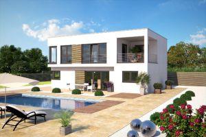 Bild: Moderne Kubus-Hausentwürfe im Bauhaussti... Bauweise: Fertighaus, industrielle Vorfertigung Bauart: Holzhaus, Fachwerk