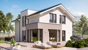 Bild: SUNSHINE 144 V4 Bauweise: Fertighaus, industrielle Vorfertigung Bauart: Holzhaus, Holztafelbau